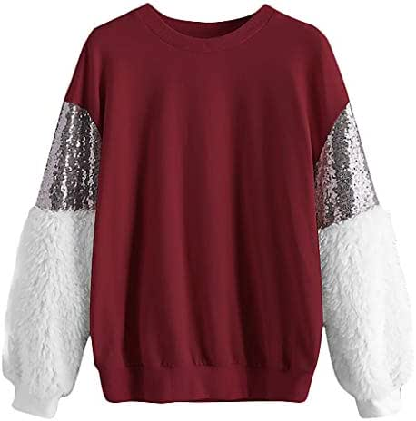 Women Sequin Fluffy Sweatshirt Long Sleeve Crewneck Pullover Top Blouse Shirt