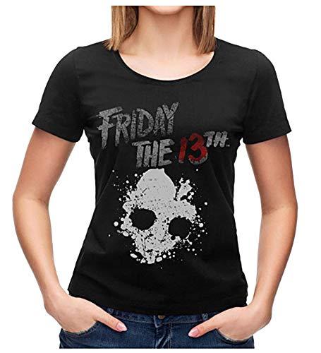 Bioworld Friday The 13th Shirt Junior's Skull Graphic Black T-Shirt (Medium) (Junior Horror Vhs)
