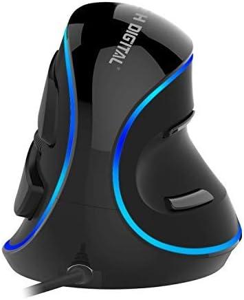 JTD Souris Optique Verticale à Souris Ergonomique avec sensibilité réglable (600/1000/1600 dpi), Repose-Mains détachable et Boutons de Pouce - Réduit la Douleur de la Main/du Poignet (Wired avec LED)