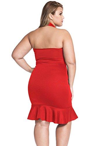 Neuf pour femme Taille plus Dentelle Rouge à l'avant sirène Robe Soirée Plus Taille UK 16–18EU 44–46