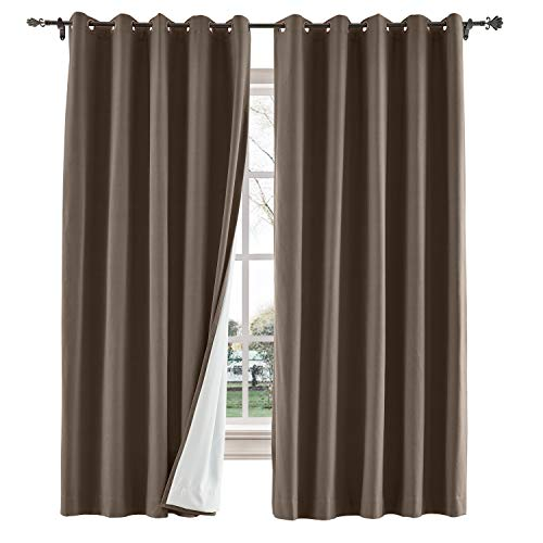TWOPAGES 52 W x 102 L inch Grommet Blackout Curtain for Bedroom Cotton Blend Room Darkening Blackout Curtain with Interlining, (1 Panel, Brown)