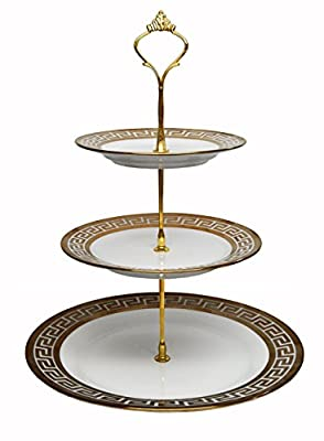 Royal Porcelain 3-Tier Round Gold-plated Cupcake Stand