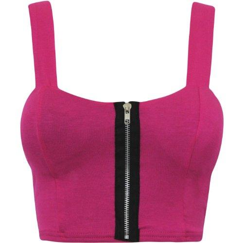 Para mujer con Oromiss de mujer con sostén deportivo de acolchado de con corazones liso Tops sujetador de soporte Bralet cremallera Hot Pink