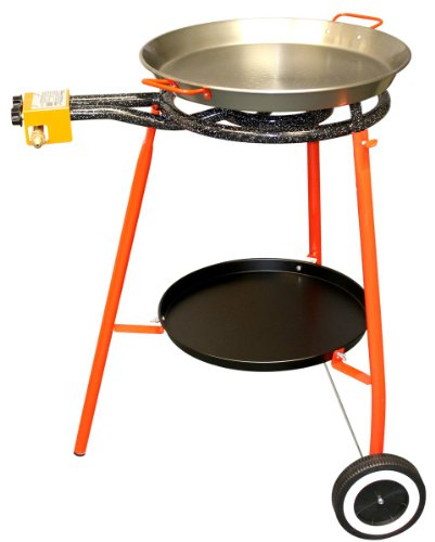 Paella Cooker Set . Includes Polished Steel Pan, 2 Ring Burner, Stand with tray and wheels, by Spain