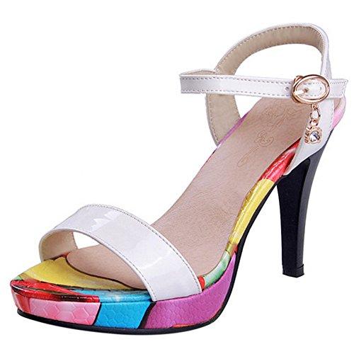 COOLCEPT Mujer Moda Al Tobillo Sandalias Punta Abierta Slingback Tacon de Aguja Zapatos Blanco