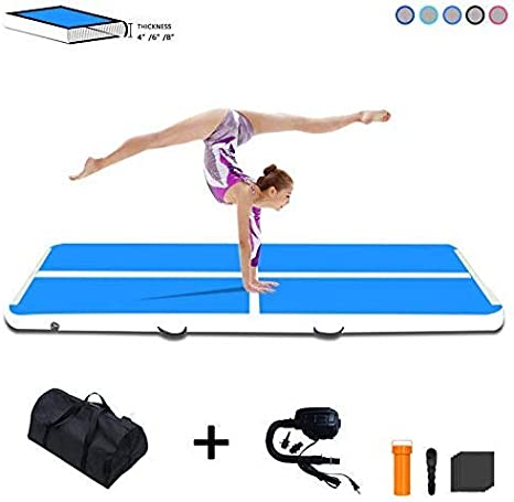 Tuxedo Sailor 10ft/13ft/16ft/20ft Inflatable Gymnastics Air Track Tumbling Mat 4in/6in/8in Thick Tumbling Air Track Mat with Electric Air Pump for ...
