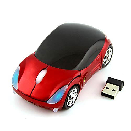 Car Mouse Wireless, 3C Light Cool 3D Sport Car Shaped Mouse Optical Mini Office Mice 1600 DPI with USB Receiver for PC/Computer/Laptop Gift for Kids (Red)