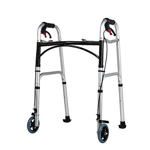 Aluminum Walker Frame Disabled Elderly Walker 8 Gear Adjustable Two-wheel Design With Hand Brake