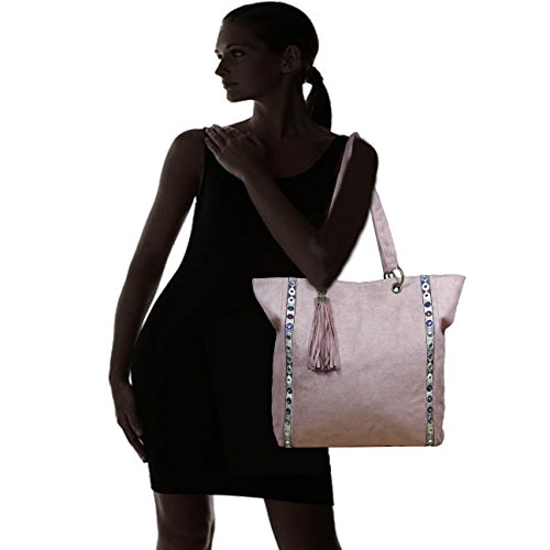 Fereti Borsa Donna Imitazione Pelle Scamosciata Con Ricamo Rosa Multicolore Colorato Specchio Glitter ?,