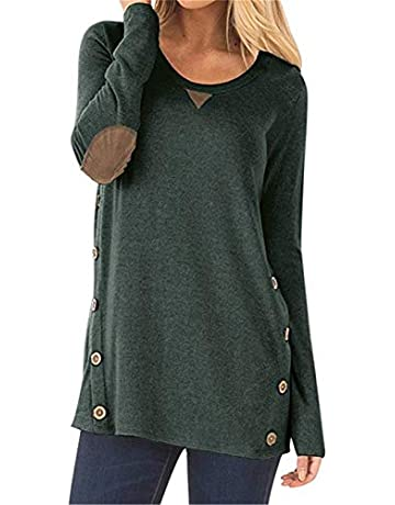 KISSMODA Womens Long Sleeve Tops Casual Loose Patchwork Shirts c882823c3074
