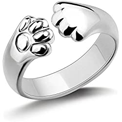 Creativelife Women's S925 Sterling Silver Cat Paw Women Open Ring,Adjustable