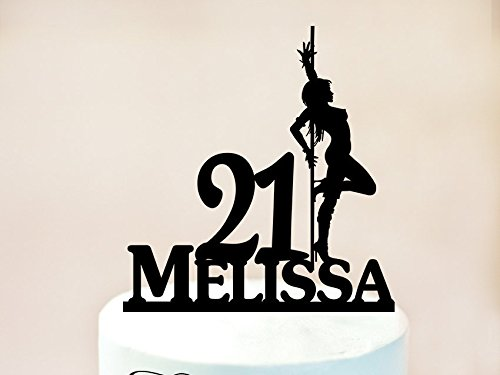 Pole Dancer Cake Topper With Name,Striptease Dance Cake Topper,Sexy Girl Cake Topper,Dancer Striptease,21Th Birthday Cake Topper, ()