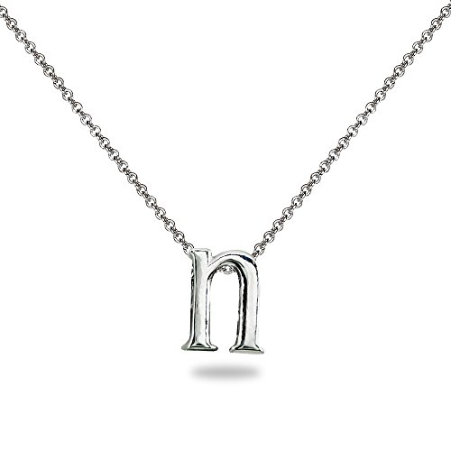 Sterling Silver N Letter Initial Alphabet Name Personalized Pendant Necklace, 15