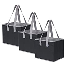 3 Piece Large Collapsible Shopping Box Set- Planet E by Eco-Stream Black