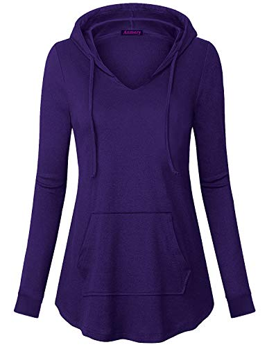- Anmery Tunics for Women Notch V Neck Vintage Drawstring Hoodie Sweaters for Ladies Elegant Hooded Sweatshirt Purple X-Large