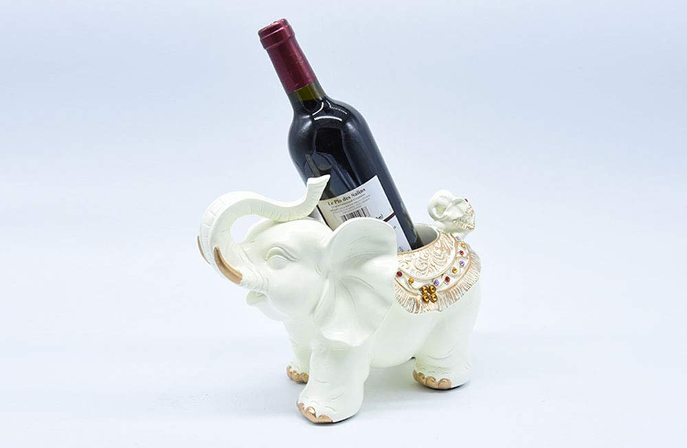 Tritow New Creative Elephant Wine Rack European Rack Holder Living Room Bar Bar Wine Cabinet Wine Home Storage Shelf Decoration Wine Shelf (Color : White)