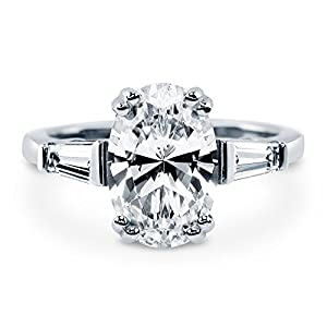 BERRICLE Rhodium Plated Sterling Silver Oval Cut Cubic Zirconia CZ Solitaire Engagement Ring by BERRICLE