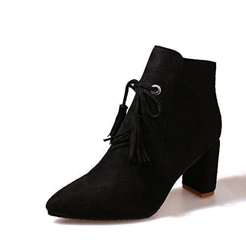 KHSKX-Zapatos De Tacon Alto Con Rough Tacones Y Botas Cortas Martin Botas Botas De Gamuza Ingles Viento Desnudo Treinta Y Cinco Thirty-six