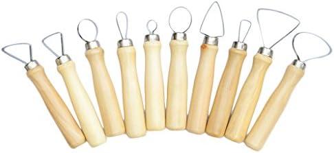 ヘラ スパチュラ 粘土彫刻ツール 粘土細工 木彫り ツール 木製のドル スチール材質 10本セット