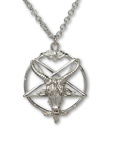 - Sterling Silver Baphomet Goat Head Satanic Pendant with 20 Inch Sterling Silver Necklace