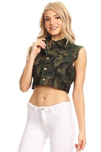 Funteze Cropped Army Print Button Up Vest (Large) by Funteze (Image #2)