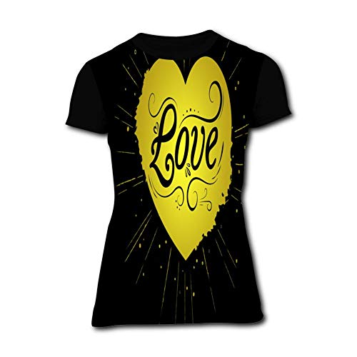 Yellow Love Pattern Black Simple and Chic Women Short Sleeve Round Top for Summer S