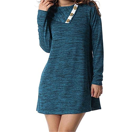 Womens Autumn Spring Dress Buttoned Lapel Mid Dress Loose Long Sleeve Casual Irregular Casual Tunic Dresses Fmeijia Navy Blue