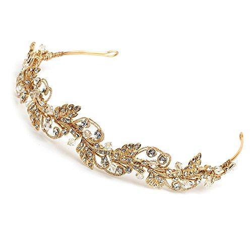 USABride Wedding Headband Floral Crystal Rhinestone Botanical Bridal Wedding Leaf Design Hair Accessory Gold-Tone Leaves Headpiece TI-3255-G