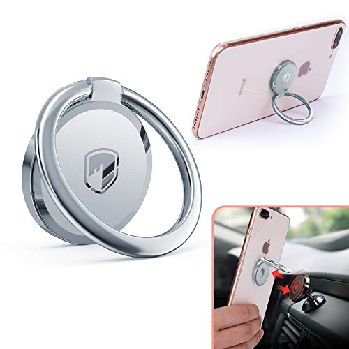 Phone Ring Holder Finger Kickstand - FITFORT 360° Rotation Metal Ring Grip for Magnetic Car Mount Compatible with All ()