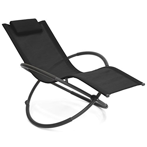 Best Choice Products Folding Orbital Zero Gravity Lounge Chair w Removable Pillow Black