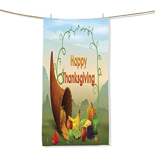 FootMarkhome Fiber Reactive Beach Towel Happy Thanksgiving Wallpaper background4 Printing Towel-Size:11.8