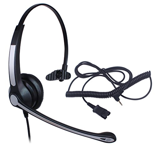 Audicom 2.5mm Call Center Headset with Mic + Quick Disconnect for Telephone Panasonic KX-NT136 KX-NT343 KX-NT346 KX-NT366 KX-T7603 IP and Cordless Phones with 2.5mm Headphone Jack (700RQD25D) by Audicom