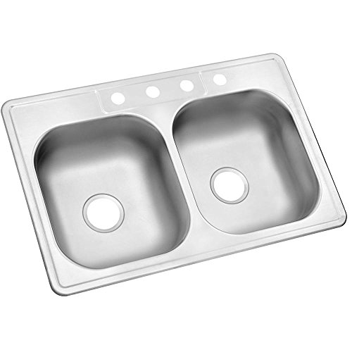Glacier Bay Drop-In Stainless Steel 33 inch 4 Hole Double Bo