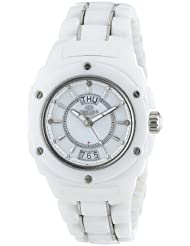 Oniss Paris Womens ON436-L WHT Galaxy Window Swiss Quartz Mother-Of-Pearl Dial Silvertone Watch