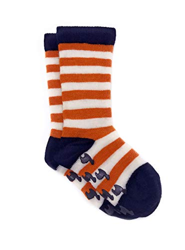 Warrior Alpaca Socks - Children's Baby Alpaca Wool Toddler Socks, Fun Stripes with Non-Skid Alpaca Appliqués (00/6-12mos, Orange ()