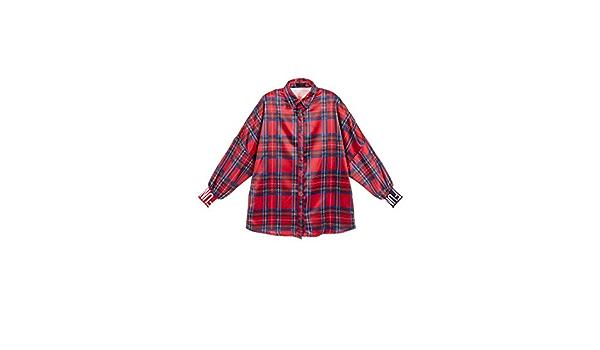 FUN FUN Fun - Camisa de satén escocés para niña, Color Rojo ...