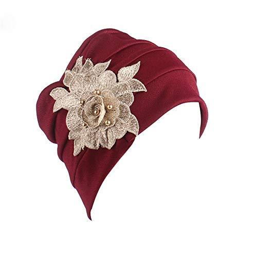 TWGONE Womens Turbans And Head Covers India Africa Muslim Elastic Cap Appliques Hat Head Scarf Wrap(One Size,Wine Red)