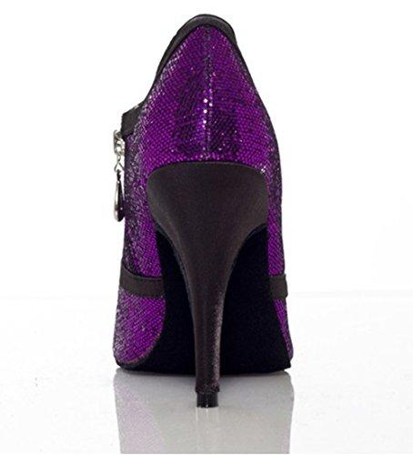 Tda Dames Klassiek Glitter Latin Modern Samba Rumba Wedding Wedding Dance Shoes Paars