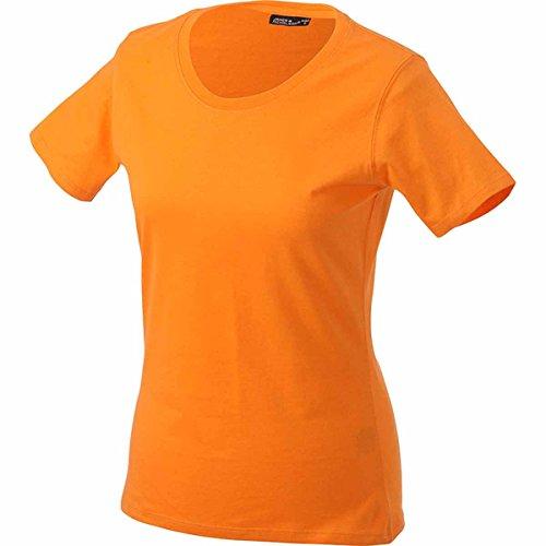 JAMES & NICHOLSON - Camiseta - Básico - Cuello redondo - Manga corta - para mujer naranja