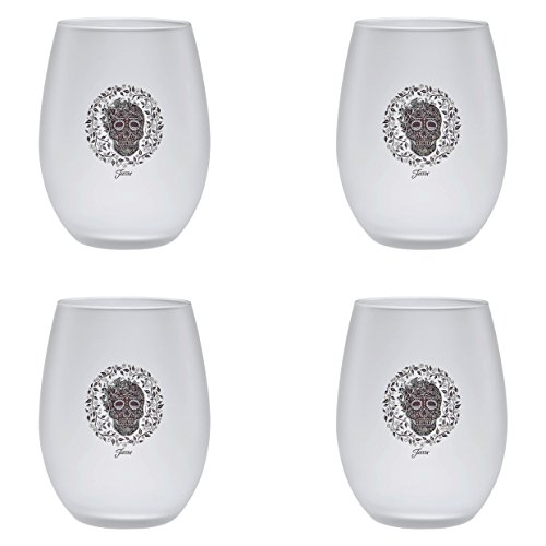 Price comparison product image Officially Licensed Fiesta Skull and Vine 15-Ounce Frosted Stemless Wine Glass Set of 4