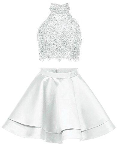 Licol Robes De Retour À La Maison De Bal Haut Du Cou En Dentelle Courte 2 Pièces Robes De Fête Brl01 Blanc