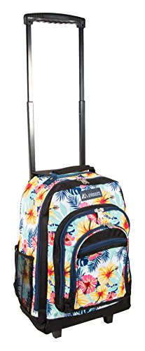 Everest Wheeled Pattern Backpack, Tropical, One Size