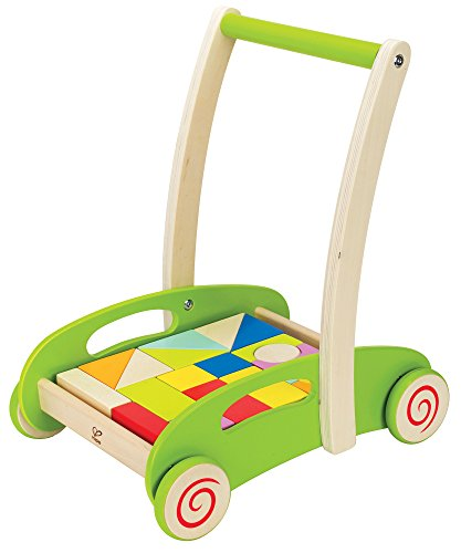(Hape Block and Roll Cart Toddler Wooden Push and Pull Toy)