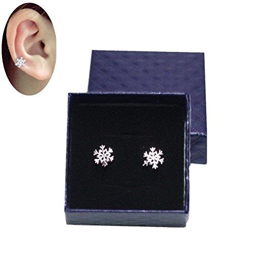 SanMeader Hypoallergenic Sterling Silver Winter Snow Flower Ear Cuffs Snowflake Stud Earrings
