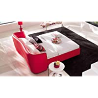 Vitali Leather Red Cal King Platform Bed by Zuri Furniture