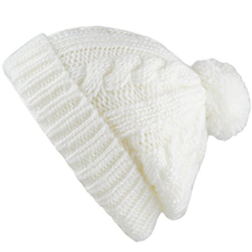 The Hat Depot Winter Thick and Warm Pom Pom Fleece Lined Skully Knit Beanie Hat (White)