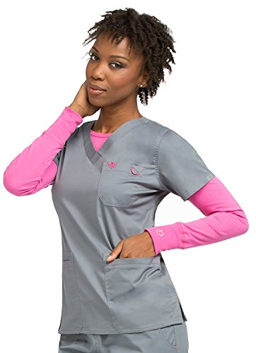 Med Couture Women's Heidi Scrub Top,Steel/Cotton Candy,Small, Model No:8454 (Couture Candy)
