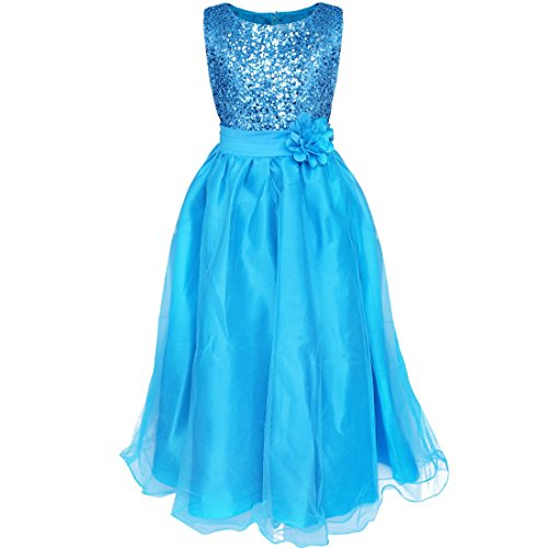YiZYiF Kids Girls Sequined Wedding Dress Bridesmaid Formal Christmas Party Gown Blue 10-12 (Blue Dress For Kids compare prices)