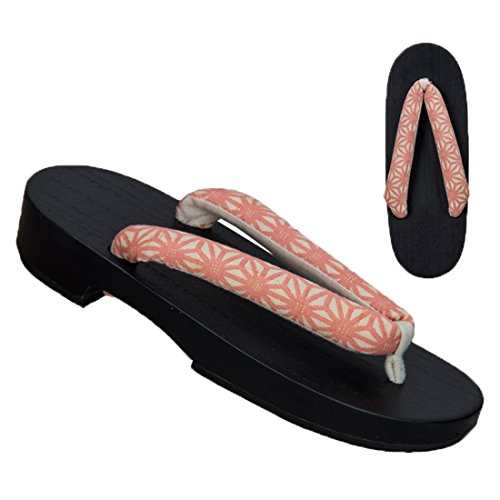 Ez-sofei Women's Japanese Traditional Shoes Floral Wooden Geta Sandals B-pink Geometry(black Sole)