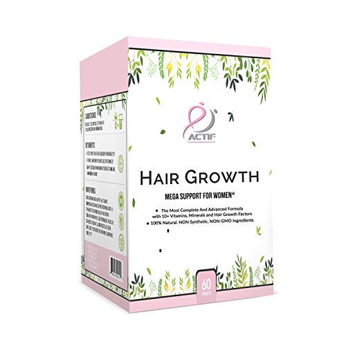 Actif Hair Growth for Women Mega Support 10+, Non-GMO, Stops 99% Hair Loss, Made in USA, 60 Count